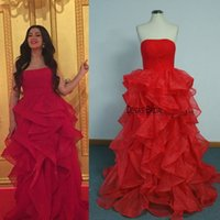 Wholesale Coupling Ball - 2017 Spring Red Evening Dresses Real Images Ball Gown Ruffles Evening Gowns Couples Fashion Party Gowns