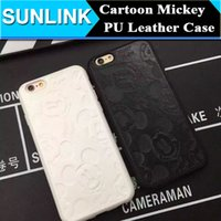 Wholesale Cartoon Leather Cover Case - For iPhone7 Cute Cartoon Animal Mickey Mouse Case Soft TPU + PU Leather Hybrid Back Cover for iPhone 7 Plus 7plus 6 6s Plus 5 5s se