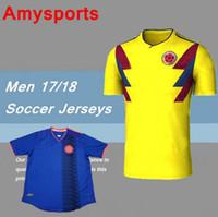 Wholesale Custom Wholesale Football Jerseys - DHL-2018 Colombia home yellow soccer jersey 17 18 Custom name FALCAO JAMES CUADRADO TEO BACCA football shirts National team