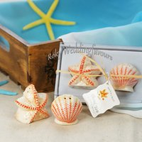 Wholesale Starfish Salt Pepper Shakers - DHL FREE SHIPPING 100Sets Seashell and Starfish Salt & Pepper Shaker Wedding Favors Engagement Party Ideas Birthday Table Decor