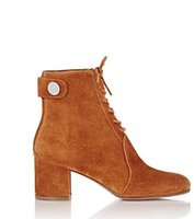Wholesale Camel Boot Genuine Leather - Free ship wholesale 2017 arrival brand new GR camel suede lace-up Finlay ankle boots women fashion boots high heels women boots