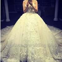 Wholesale Strapless Ball Gown Cathedral Train - 2016 3D Floral Wedding Dresses with Strapless Neckline and Cathedral Train Real Pictures Lace Appliques Flowers Tulle Ball Gown Bridal Gowns