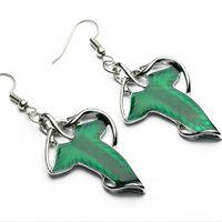 Wholesale Jade Leaves - women brincos silver plated alloy punk The Hobbit Imitation jade Emerald earring big Green leaf drop earrings Leaves Dangle earrings e293