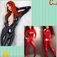 Wholesale Wet Look Pvc Dress - Black Women Faux Leather Wet Look PVC Catsuit Ladies Girl Fancy Dress Jumpsuit Exotic Clubwear