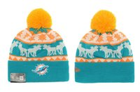 Wholesale Dolphin Clip - 2017 Hot Sale Men Tie USA FOOTBALL Miami Cuff Knitted Beanie Winter Hat cap baseball DoLpHins orange blue