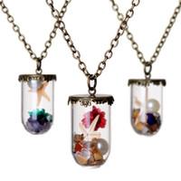 geschenke starfish-liebhaber großhandel-Seewelt trockene Blume Seestern Perlen Wunsch Drift Flasche Halsketten für Frauen Liebhaber Glas Halskette DIY Schmuck Weihnachtsgeschenk 161544