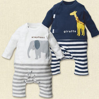 no Whole Size Unisex 2016 Baby clothes Spring Autumn baby wear boy girl rompers newborn infant Animal elephant giraffe Bear romper onesies jumpsuit 222 BY DHL