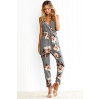 Großhandel-Blumendruck Overall Frauen Sexy Backless Clubwear Sleeveless Party Playsuit Strandhose 2017 Lange Strampler Frauen Overall