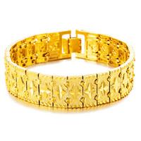Wholesale Vietnam Gold - Wholesale Euro gold jewelry 16.5mm men's bracelet 24K plated watch chain long colorfast Vietnam gold jewelry