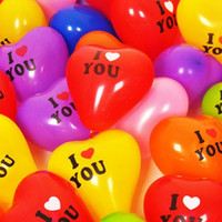 Balões de casamento 100pcs / Lot Love Heart Shape Balls Party Latex Balloon Decoração de Natal Inflável Casar Holiday Festive Decorative