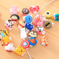 Wholesale Cute Lovely Earphone - 100Pcs=1Lot Cute Design Protect Cover Lovely Cartoon Data Line Earphone Line Protective Cover Cartoon Mini Protective Cover for ALL Phones