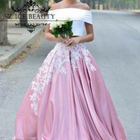 Wholesale Elastic Puffy Sleeves - White And Pink Puffy Prom Party Dresses 2017 Arabic African Applique Cheap Off The Shoulder Two Pieces Long Evening Dress Gowns