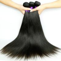 Wholesale unprocessed virgin cambodian hair weave resale online - Top A Brazilian Virgin Straight Hair Weaves Malaysian Peruvian Indian Cambodian Unprocessed Human Hair Bundles Double Weft