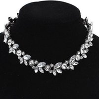 Wholesale Womens Collar Gold Necklace - 2Pcs Brand New Womens Bib Statement Choker Collar Necklace with Crystal & Alloy Gold Silver Planted Free Shipping[JNG0004*2]