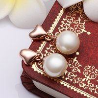 Wholesale European Dangle Pearl - Wholesale Classic Pearl Heart Gold Plated Earrings European and American Style Fashion Jewelry Accessories Free Shipping
