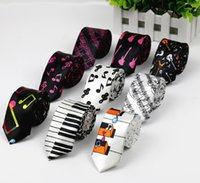 Wholesale Free Music Guitar - Free Shipping New Fashion Novelty Men's Music Tie Piano keyboard Guitar Music Note Necktie