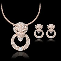 Wholesale Gold Leopard Head Necklace - Earrings Necklace Jewery Set Luxury Women Quality Full Rhinestone 18K Gold Plated Alloy Leopard Head Party Jewelry 2-Piece Set JS107