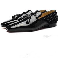 Wholesale Mens Wedding Shoes Patent Leather - New fashion Mens Black Patent Leather with Tassel flat business dress shoes,Brand men loafers wedding shoes Red Bottom Rivets oxfords 35-46