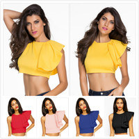 Wholesale Sexy Hot Shirt - 2017 Freeshipping New vest casual wear one-shoulder ruffle crop top T-shirt Pullovers Fashion T Shirt Hot Lady sexy girls club wear AD43452