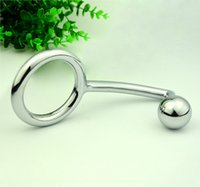 Wholesale Chastity Metal Ball - Anal Sex Toys Anal Plugs Butt Plugs & Cock Rings With Ball Male Metal Anal Hook Penis Lock Chastity Devices For Men