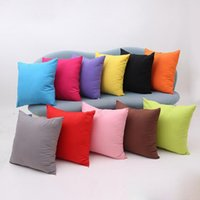 Wholesale Solid Square Pillow - Square Solid Pillow Case Plain Polyester Cushion Cover Candy-Colored Sofa Throw Pillow Case Home Decor 11 Colors YW168