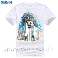 Wholesale native american fashions - Indian Headdress Skull T-SHIRT Native American Spirit Day Of Dead Feathers Shirt Summer Short Sleeves New Fashion T-Shirt