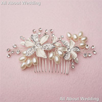 Wholesale Bridal Crystal Hair Combs - Crystal Pearl Bridal Comb 2017 Hot Sell Wedding Hair Accessories Party Prom Headpieces Jewelry Real photo