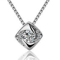 Wholesale Wholesale Sale Singapore - Silver Pendant Necklaces Hot Sale Zirconia Crystal Square Shiny Pendants Necklace for Women Wedding Party Fashion Jewelry Wholesale 0129WH