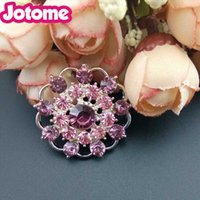 2017 Braut Corsage Fancy Shiny Clear Crystal Strass Finding Jewelry Licht Lila Red Flower Button / Gürtelschnalle