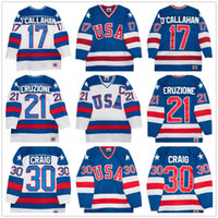 usa hockey team großhandel-1980 Olympics Team USA Hockey Vintage Trikot # 30 Jim Craig 21 Mike Eruzione 17 Jack O'Callahan Königsblau Weiß Genähte Retro Herren Trikots