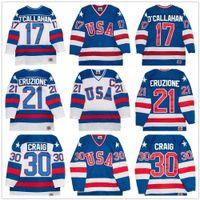 equipo usa hockey jersey blanco al por mayor-Equipo olímpico de 1980 USA Hockey Vintage Jersey # 30 Jim Craig 21 Mike Eruzione 17 Jack O'Callahan Royal Blue White cosido Retro Jerseys para hombre