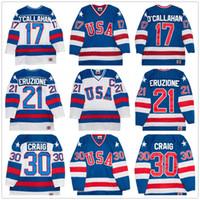 maillot de l'équipe de hockey usa blanc achat en gros de-Maillot Vintage # 30 de hockey des États-Unis par équipes olympiques de 1980 Jim Craig 21 Mike Eruzione 17 Jack O'Callahan Royal Blue White Stitched Retro Jerseys