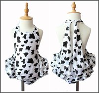 Wholesale Cow Rompers - Girls Childrens Swimwear Clothing Beach Backless Swimsuit Kids Jumpsuits onesies New Cute Summer Cow pattern Rompers Swimsuits Clothes