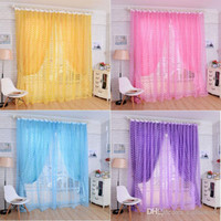 1Pc Rose Tulle Pantallas de ventana Puerta de cortina de balcón Panel Sheers pura excelente cortinas Sheer E00611 SMAD
