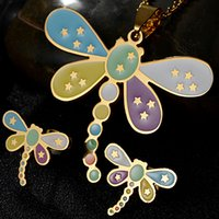 Wholesale Crystal Dragonfly Necklace - Factory Direct 316L Stainless Steel Jewelry Cartoon Dragonfly Necklace and Earring Set 18K Gold Plated Jewelry Sets Wholesale