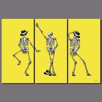 imagens de ossos amarelos venda por atacado-3 pcs pop rei michael jackson dança topper chapéu amarelo bone pictures crânio da lona pintura wall art sala de estar decoração sem moldura