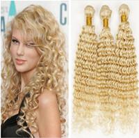 Wholesale Deep Wave 613 - 9A Brazilian Deep Wave Wavy Blonde Hair Weaves Unprocessed Blonde #613 Brazilian Human Hair Weft Extensions 3 Bundles Free Shipping