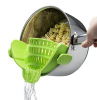 Wholesale Greasing Silicone - Clip-on Silicone Strainer, Colander & Drainer, Pan Strainer, BONUS FREE Garlic Peeler! Pasta, Spaghetti, Ground Beef Grease, Vegetables Stra