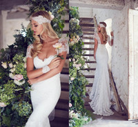 Trumpet/Mermaid Model Pictures 2016 Spring Summer 2016 Mermaid Wedding Gowns Full Lace Wedding Dress Custom Made Berta Sweep Train Backless Capped Sleeves