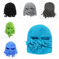 Wholesale Biker Children - Octopus Full Head Mask Adult Children Beanie Hat Handmade Wool Cap Halloween Funny Party Masks Cycling Cosplay Ski Biker 11 Colors YW172