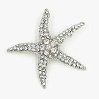 Wholesale Friends Costumes - High Quality Stunning CZ Rhinestone Crystals Big Starfish Brooch Rhodium Plated Special Brooch Pin For Friend Women Bouquet Costume Broach