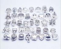 pandora talão de metal venda por atacado-40 pçs / lote Mix Estilo banhado a prata Big Hole Solta Beads encantos de metal Para Pandora DIY Pulseira Jóias Para Encantos Europeus PulseiraColares