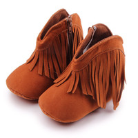 Wholesale Red Fringe Ankle Boots - Hot Baby Girls Boots Fashion Long Tassel and Zip Nubuck Leather Warm Linning Soft Anti-slip Sole Infant Walking Shoes 0-18 Months