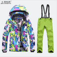 Wholesale Thermal Outdoor Pants Women - Wholesale- 2018 Women Ski Suit Thermal Outdoor Sport Wear Skiing Snowboard Windproof Waterproof Jacket Pant Super Warm Female Suit Winter