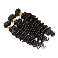 Wholesale Remi Curly - Full Head 3pcs lot 9A Brazilian Malaysian Peruvian Indian Virgin Hair Weave Bundles Deep Curly Wave Remi Natural Human Hair Extensions 1b#