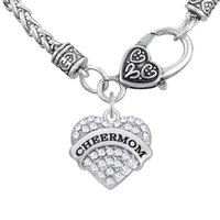 Wholesale Heart Cheer - Myshape Engrave Letter CHEER MOM Pendant Necklaces & Bracelet & Earrings & Pendant Charms Jewelry Rhodium Crystal Pendant Women Jewelry