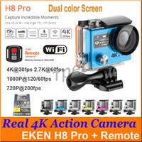 Wholesale Dual Remote Control Camera - Original EKEN H8 Pro Dual Screen 4K 30fps Action Camera 1080P 120fps 720P 200fps + Remote Control Waterproof Super Slow Motion Sports DV DHL