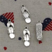 Wholesale Silver Flip Flop Bracelet - Wholesale- 289pcs Charms slipper flip flops 21*7mm Pendant,Tibetan Silver Pendant,For DIY Necklace & Bracelets Jewelry Accessories