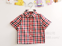 Wholesale Cute Wholesale Collared Shirts - Wholesale-Free shipping 2016 new summer baby boys plaid printed england style cute short sleeved shirts causal colorful turn-down collar