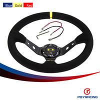 Wholesale Drifting Leather - PQY RACING- Steering wheel ID=14inch 350mm OMP Deep Corn Drifting Steering Wheel Suede Leather Steering wheels 3 Colors PQY-SW21